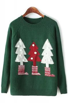 Christmas Trees Print Balls Round Neck Long Sleeve Pullover Sweater