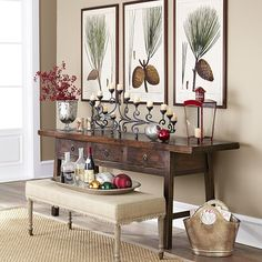 rustic entryway ideas   Rustic Entryway Scene. Bench on casters can be stored beneath the table. Love it. Now just need a place to put the shoes!