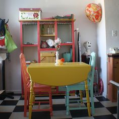 Possible color combo for kitchen table and chairs??? I like the idea of three different colors