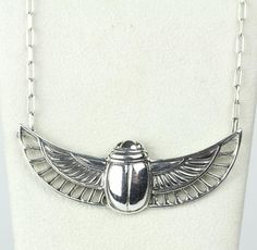 Sterling Scarab Winged Necklace – Loved To Death