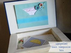 turn old books into keepsake boxes! I'm doing a few of these for my million's of loose pictures!  Cute idea instead of a photo album and can easily be stored on your bookshelf!