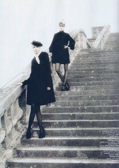 Jessica Stam and Snejana Onopka by Karl Lagerfeld for Harper's Bazaar Romania November 2007