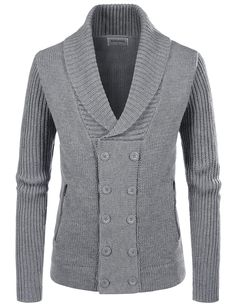 newest 6bb3f 4c214 (NKNDJ7) TheLees Wool Blend Shawl Collar 5 Button Knitted Cardigan Sweaters  Verano Hombres,