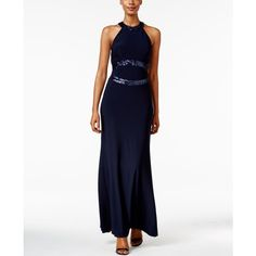 Betsy & Adam Open-Back Sequined Halter Gown ($209) ❤ liked on Polyvore featuring dresses, gowns, navy, white dress, white evening gowns, sequin evening dresses, white gown and white halter dress