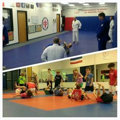"""Little champs Black Belt Club class learning how to do """"around the world"""" while on the other mat coach Boo showing some of the guys some extra moves before class!  #pamabjj"""