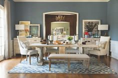 Inspired by our creative director Jeff Lewis, this lovely dining room was shot in a historic home in Hancock park. Visit our home inspiration page and see more dining rooms. #StyledbyJeffLewis