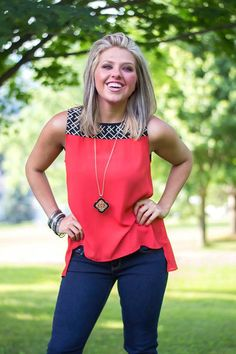 Cute top from Stitch Fix.  Love the black & white pattern at the top, with the bold coral and the flattering cut!