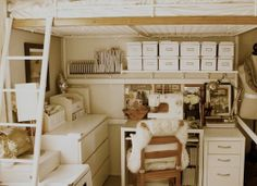 OMG. Craft nook under bed. want want want. Also (and more realistic), uniform boxes all in a row. Maybe I could upcycle some shoeboxes by covering them in uniform paper.