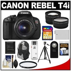 Canon EOS Rebel T4i Digital SLR Camera Body & EF-S 18-55mm IS II Lens with 32GB Card + Battery + Backpack + Tripod + Filter + Remote + Telephoto & Wide-Angle Lenses + Accessory Kit by Canon. $779.95. Kit includes:♦ 1) Canon EOS Rebel T4i Digital SLR Camera Body & EF-S 18-55mm IS II Lens♦ 2) Transcend 32GB SecureDigital Class 10 (SDHC) Card ♦ 3) Spare LP-E8 Battery for Canon♦ 4) Vivitar 58mm UV Glass Filter♦ 5) Vivitar RC-6 Wireless Shutter Release Remote Control ♦ ...
