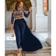 Majesty Cape Jumpsuit ( Navy Blue ) // kaftan // abaya // jumpsuit // for prom , babyshower , wedding , gala , bridesmaid. African Print Jumpsuit, African Print Dresses, Full Figure Dress, Girl Fashion, Fashion Outfits, Prom Outfits, Dope Fashion, Cape Jumpsuit, Kaftan Abaya