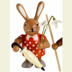 Easter decoration:: Bunny female with flower - 11 cm / 4 inches