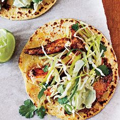 Dinner Time! Ancho Chicken Tacos w/ Cilantro Slaw and Avacado Cream 320 calories for 2 tacos!
