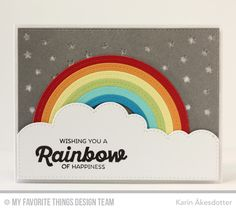 Rainbow of Happiness, Stars in the Sky - Horizontal Die-namics, Stitched Cloud Edges Die-namics, Stitched Rainbow Die-namics - Karin Åkesdotter   #mftstamps