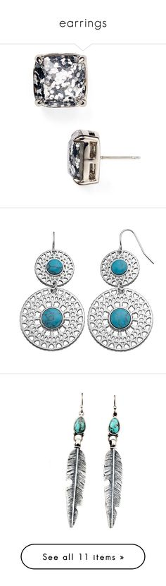 """""""earrings"""" by coralkahler ❤ liked on Polyvore featuring jewelry, earrings, accessories, stud earring, stud earrings, square stud earrings, square earrings, glitter jewelry, kate spade and aqua earrings"""