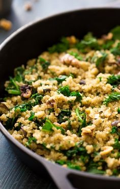 Kale and Quinoa Skillet with Mushrooms and Herbs - An easy, one pot meal that is gluten free, and SO delicious! Perfect for Meatless Monday!