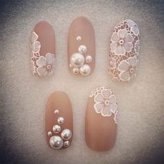 Cute Nail Designs For Spring – Your Beautiful Nails Nail Art Fleur, Lace Nail Art, Lace Nails, Sparkle Nails, Gel Nail Art, Flower Nails, Bride Nails, Prom Nails, Diy Wedding Nails