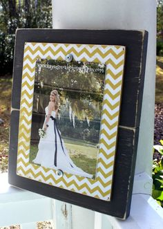 Chevron Picture Frame, Yellow Chevron, Grey Chevron Frame, Distressed Frame, Rustic 5x7