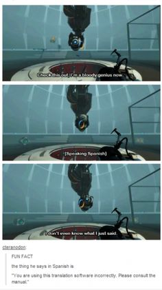 "Wheatey's a ""genius"" (this is the Portal fandom btw to all lame people that don't understand) Portal Memes, Portal 2 Funny, Marvel Universe, Aperture Science, Into The Fire, Pokemon, Funny Tumblr Posts, Gaming Memes, My Guy"