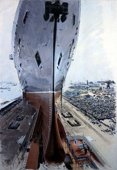 Painting by Brenet of SS France at her launch.