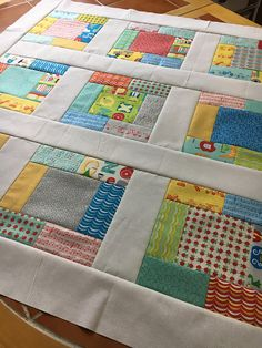 Gender Neutral Nursery Quilt TOP Apple Jack ABCs - Unfinished quilt, Tim and Beck for Moda, 38 inch square Baby Rag Quilts, Baby Patchwork Quilt, Boy Quilts, Scrappy Quilts, Colchas Quilting, Quilting Projects, Scrap Quilt Patterns, Pattern Blocks, Bonnie Hunter