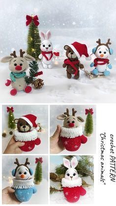 Crochet Christmas Decorations, Christmas Crochet Patterns, Holiday Crochet, Crochet Snowman, Crochet Ornaments, Christmas Bunny, Christmas Animals, Crochet Amigurumi Free Patterns, Crochet Stitches Patterns