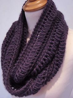 I thought this was crochet but it's knitting! Edie Infinity Scarf (free) by Jeanette Sloan