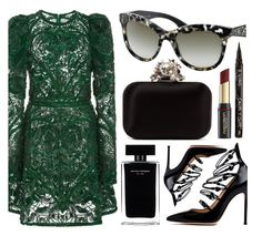 """""""Elegant Look"""" by smartbuyglasses ❤ liked on Polyvore featuring Elie Saab, Jimmy Choo, Smith & Cult, David Jones, Gianvito Rossi, Narciso Rodriguez, black and GREEN"""