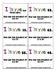 Practice multiplication facts with your students using these I Have... Who Has...