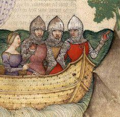1380-1385 BNF Français 343 Queste del Saint Graal Tristan de Léonois Folio 59. Un altro esempio di terzolla. / Another source for a terzolla.