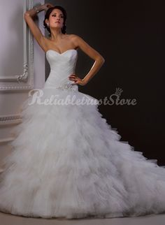 Unqiue Ball Gown Sweetheart Floor Length Tulle Princess Wedding Dress-$358.99-ReliableTrustStore.com