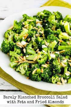 Barely-Blanched Broccoli Salad with Feta and Fried Almonds found on KalynsKitchen.com