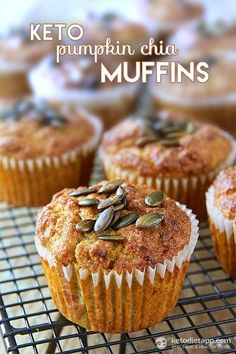 The perfect autumn flavors in fluffy grain-free muffins made with homemade pumpkin puree, pumpkin spice mix, almond flour and chia seeds.