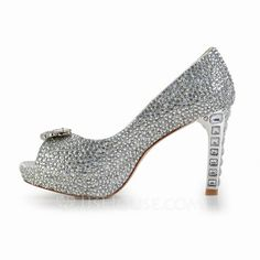 Women's Leatherette Cone Heel Peep Toe Platform Sandals With Rhinestone (047027364)