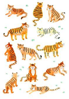 Tiger Illustration Print by Lorna Scobie Shop Etsy Tiger Illustration, Tiger Drawing, Tiger Art, Tiger Tiger, Drawing Art, Grafik Design, Animal Drawings, Cat Art, Artwork