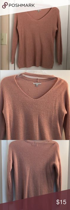 Pink long sleeve sweater V-neck long sleeved sweater with the choker look at the top. Light pink color. Is in good condition. Has some fuzzy's on it as it does look like it has been worn - which it has been... willing to adjust price if reasonable. American Eagle Outfitters Sweaters V-Necks