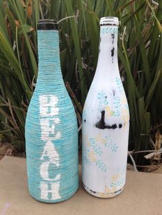 Repurposing wine bottles to fit birthday beach theme diy wine turquoise beach jute wrapped wine bottle by yellowbeemine on etsy solutioingenieria Images