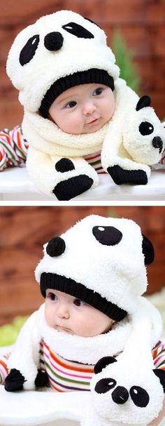 """Awww, a little """"panda""""! Little Panda, Cute Little Baby, Little Babies, Baby Love, Little Ones, Cute Babies, Baby Kids, Panda Bebe, Cute Panda"""