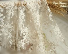 Beige Wedding Lace Fabric, French Embroidered Lace, Bridal Lace Fabric, Curtain Fabric Wedding Dress Lace, Apparel Curtain Fabric by Yard