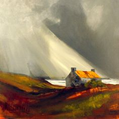 """""""Croft with the rusted roof, Isle of Lewis"""" by Rob Miller - Acrylic"""