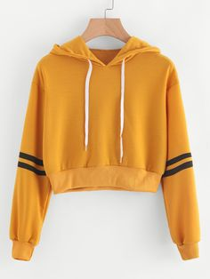 Material Polyester Color Yellow Pattern Type Striped Neckline Hoodie Style Casual Sports Type Pullovers Sleeve Length Long Sleeve Fabric Fabric has some stretch Season Spring Fall Shoulder Cm S M L XL Bust Cm S M L XL Sleeve Length Cm S Teenage Outfits, Teen Fashion Outfits, Outfits For Teens, Trendy Outfits, Girl Outfits, Crop Top Hoodie, Cropped Hoodie, Vetement Fashion, Cute Crop Tops