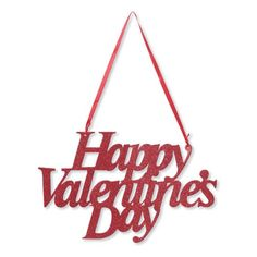 Happy Valentines Day Glitter Sign with Ribbon Hanger/Case of 12