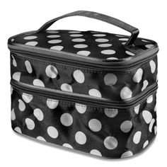 Travel Makeup Bag Toiletry Cosmetic Organizer Case Black and White Polka Dot New #Zodaca