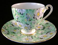 Green Daisy Chintz Shelley Ripon Cup and Saucer England