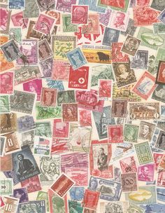 A stamp background for gift wrap, collages, etc. Mostly european stamps.