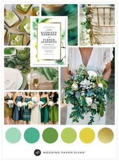 Green and Gold Wedding Color Inspiration Navy Wedding Flowers, Emerald Green Weddings, Gold Wedding Colors, Gold Wedding Theme, Wedding Color Schemes, Wedding Themes, Wedding Decorations, Wedding Ideas, Wedding White