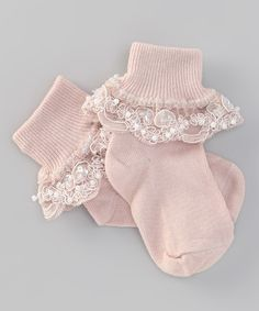 Look at this #zulilyfind! Truffles Ruffles Pale Blush Bella Socks by Truffles Ruffles #zulilyfinds