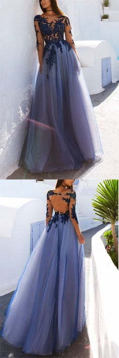 Charming Prom Dress,Long Sleeve Prom Dress,Appliques Prom Dresses,Sexy Prom Dress,See Though Evening Dress,Blue Prom Dresses #blue #tulle #appliques #longsleeves #seethrough #prom #okdresses