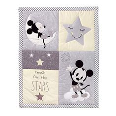 Baby will be over the moon for Mickey when snuggled up in this starry and sweet bedding set by Lambs & Ivy. Complete with patchwork-style quilt, fitted sheet and bedskirt, it also includes a wearable blanket to keep baby safe and cozy. Baby Mickey Mouse, Mickey Mouse Wall Decals, Mickey Mouse Nursery, Toddler Girl Bedding Sets, Crib Bedding Sets, Baby Boy Rooms, Baby Room, Nursery Bedding, Comforter Sets