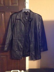 Women's Black Leather Jacket Medium Leather Elements | eBay