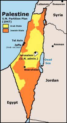 1948 - Guerra de Independencia de Israel. El 29 de noviembre de 1947 la ONU resuelve que el Mandato Británico de Palestina, ha de ser divido en dos estados, uno judío y uno árabe. Jerusalén quedaría bajo soberanía internacional. Los líderes judíos aceptan la resolución, los árabes no y entran en guerra.
